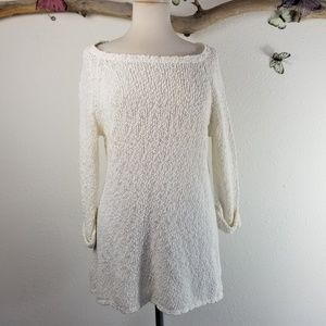 Joie open knit off white nubby tunic
